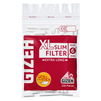 Filtre rulat GIZEH - 6 mm Slim Red LONG (100)