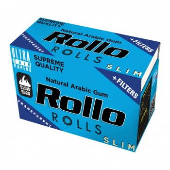 Foite rulat Rollo - Slim Rola BLUE + Filter Tips (4 m)