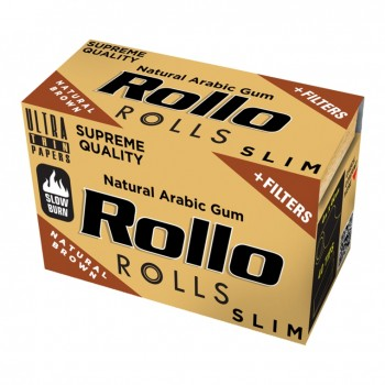 Foite rulat Rollo - Slim Rola BROWN + Filter Tips (4 m)