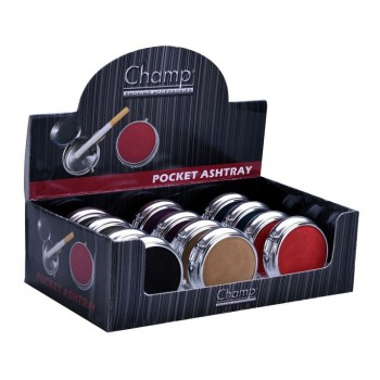 Mini scrumiera metalica - Champ Pocket Leather Ashtray